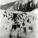 Workers Attempt to rescue buried collegues in 1910 in British Columbia, Canada