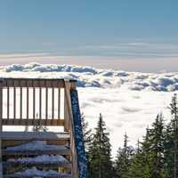 Looking at the clouds from the balcony of Grouse Mountain