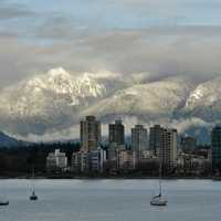 Mountains in the landscape behind the skyline of Vancouver, Canada