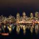 Night Skyline across the water in Vancouver, British Columbia, Canada
