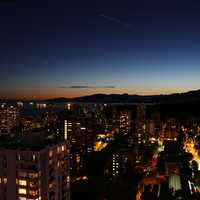 Night Time Cityscape of Vancouver, British Columbia, Canada