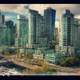 Painting of towers and skyscrapers in Vancouver, British Columbia, Canada