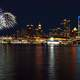 Skyline and fireworks at night in Vancouver, British Columbia, Canada