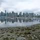 Skyline of Vancouver across the water with boats in British Columbia, Canada
