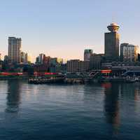 Skyline of Vancouver near the docks in British Columbia, Canada
