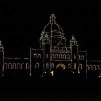 Christmas Lights on the Parliament building in Victoria, British Columbia, Canada
