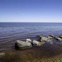 Rocks in the shallow water at Lake Winnipeg