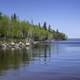 Scenery of the Lake Winnipeg Shoreline with trees at Hecla Provincial Park