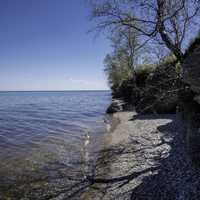 Shoreline of Lake Winnipeg with small rocks and trees