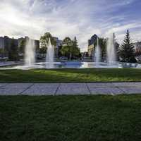 Fountains and skyline in Winnipeg