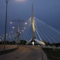 Lighted Bridge at Night in Winnipeg