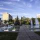 Pools and Fountains with Skyline of Winnipeg