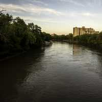River around sunset on the bridge in Winnipeg