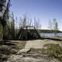 Campsite on the shores of Pontoon lake, Ingraham Trail