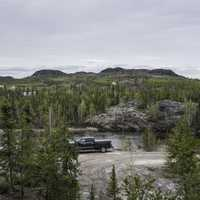 Cars parked on the Ingraham Trail by Tibbit Lake