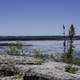 Front view of frozen prelude lake, Ingraham Trail