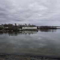 Houses and Trailers on the shores of Great Slave Lake at Dettah