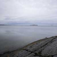 Landscape on cloudy day overlooking Great Slave Lake near Dettah
