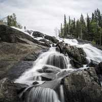 Looking at the top of Cameron Falls in Ingraham Trail