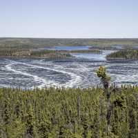 Overlook of the frozen lake at Prelude Lake, Ingraham Trail