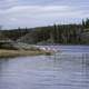 People Sunbathing on the Shore on Prelude Lake, Ingraham Trail