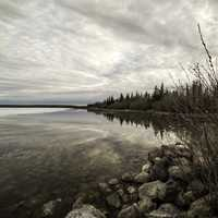 Shoreline landscape with rocks and trees on Great Slave Lake