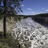 Landscape of the Gorge downstream on the Hay River