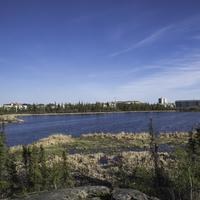 Houses across from Niven Lake in Yellowknife