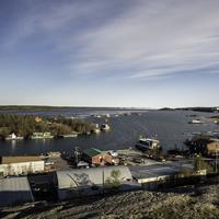 Houses and buildings and Great Slave Lake in Yellowknife