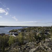 Overlook under blue skies of Great Slave Lake at Yellowknife