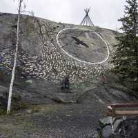 Park with artwork in old town, Yellowknife