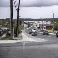 Road into Old town with traffic in Yellowknife