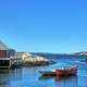 Boat and house landscape in Peggys Cove in Halifax, Canada