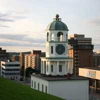 Clock Tower and city in Halifax , Nova Scotia