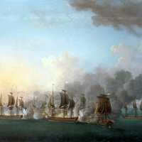 Painting of Naval Battle of Sydney Mines in Nova Scotia