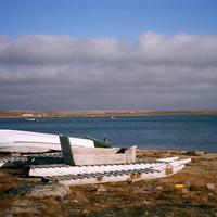 Beached komatiks at Clyde River in Nunavut, Canada