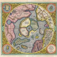 Hondius Map picturing the Frobisher Strait in Nunavut, Canada