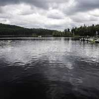 Boats and landscape on the lake in Algonquin Provincial Park, Ontario