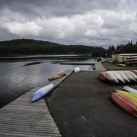 Canoes by the lakeshore at Algonquin Provincial Park, Ontario