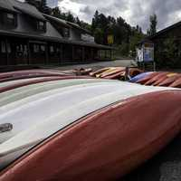 Canoes for rent at Algonquin Provincial Park, Ontario