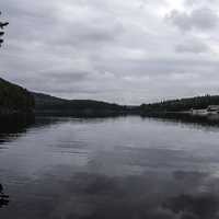 Cloudy landscape over the lake at Algonquin Provincial Park, Ontario