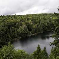 Forest and landscape and lake from Hemlock Bluff at Algonquin Provincial Park, Ontario