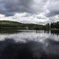 Shoreline, lake, and clouds in Algonquin Provincial Park, Ontario