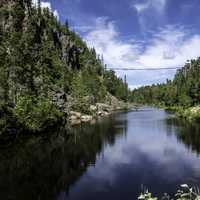 Landscape and suspension Bridge across Eagle Canyon, Ontario