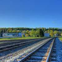 Railway in town at Lake Nipigon, Ontario, Canada