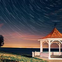 Star trails over a Gazebo at Niagara on the Lake, Ontario, Canada