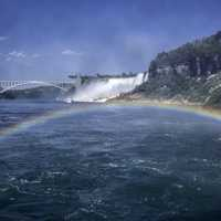 Rainbow across the River at Niagara Falls, Ontario, Canada