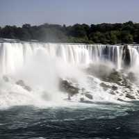 Silky Waters of American Falls Flowing down from the top as soon from Niagara Falls, Ontario, Canada