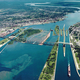 Soo Locks and canal landscape in Sault Ste. Marie, Ontario, Canada