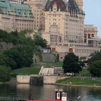 Château Laurier seen from across the Ottawa river, Ontario, Canada